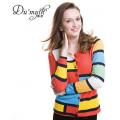 慕薩 新款女式新款羊絨衫撞色圓領修身開衫鄂爾多斯市產毛衣外套