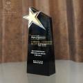 五星奖杯定制,黑水晶底座刻字纪念颁奖表彰奖牌,广州奖牌