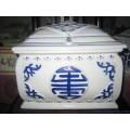 基督教陶瓷骨灰盒,青花十字架骨灰盒