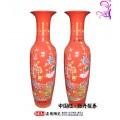 厂家定做景德镇陶瓷大花瓶,红色喜庆大花瓶