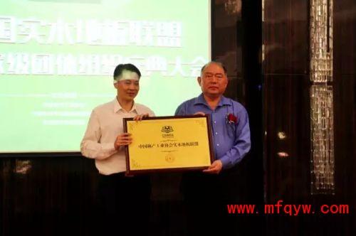 中国林产工业协会秘书长石峰为大自然颁发联盟牌匾