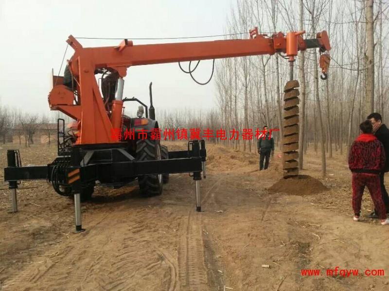 东方红804 拖拉机吊车 电线杆钻孔机 价格 起重5吨图片