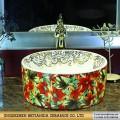 荷花洗手盆定制 厂家直销 景德镇陶瓷创意艺术台盆洗脸盆
