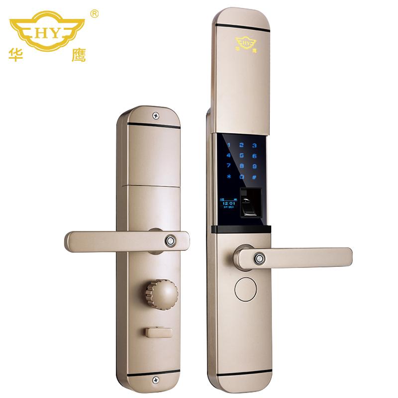 HY1077华鹰锌合金滑盖半导体家用全自动智能指纹锁