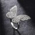 韩版新款上市 AAA镶嵌锆石铜 女式蝴蝶戒指 饰品工厂