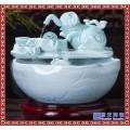 竹子流水配件鱼缸过滤器摆件陶瓷 水景喷泉风水轮水车加湿器