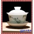 厂家批发白瓷盖碗手绘功夫茶具三才碗薄胎手工泡茶碗茶杯
