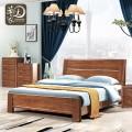 现代双人床主卧新中式家具1.8米1.5m胡桃木实木床卧室家具
