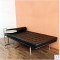 巴塞罗那大床黑皮革牛皮沙发床