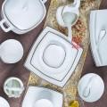 金边骨瓷碗盘定制 陶瓷碗盘定制logo