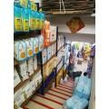 天津木纹转印货架展示架超市商超货架母婴店钢木楼梯道架子定做