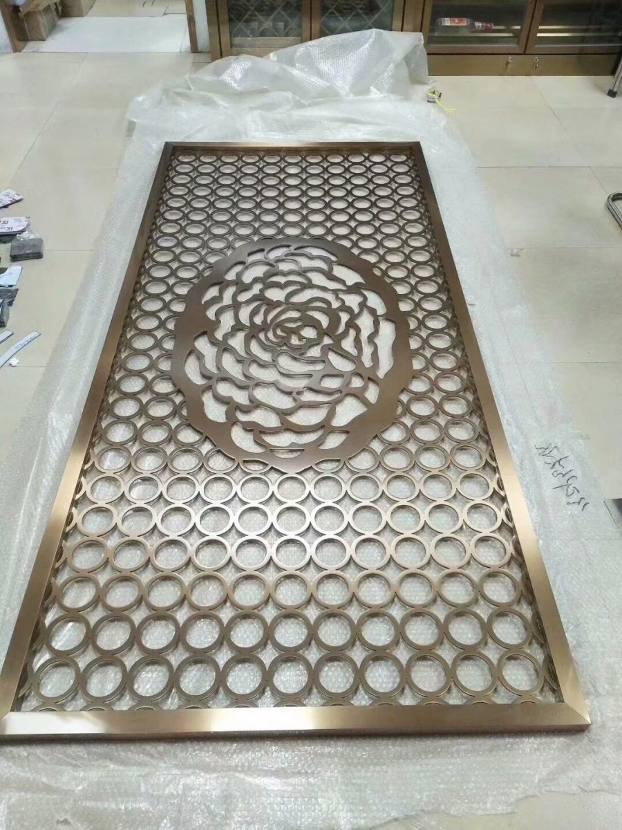 不銹鋼玫瑰金鏤空藝術屏風定制廠家