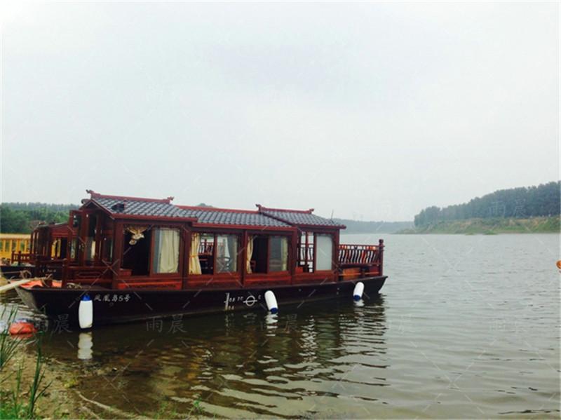 徐州木船厂家出售10米观光船水上画舫船餐饮客船