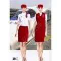 空姐短袖套裝夏季新款 紅色 玫紅色航空服 深紫色高鐵制服
