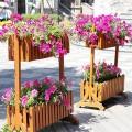 园林景观花箱,道路隔离带花箱厂家,河南隔离带防腐木花箱
