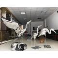 景观不锈钢镜面仙鹤雕塑摆件成品效果图