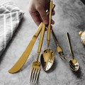 新品不锈钢圣玛德镀金方柄西餐餐具刀叉甜品咖啡刀叉勺子