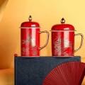 婚庆礼品陶瓷茶杯,高档描金龙凤对杯套装